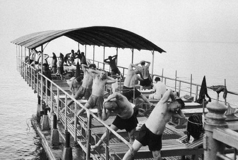 Vacationers Exercising at the Black Sea Resort