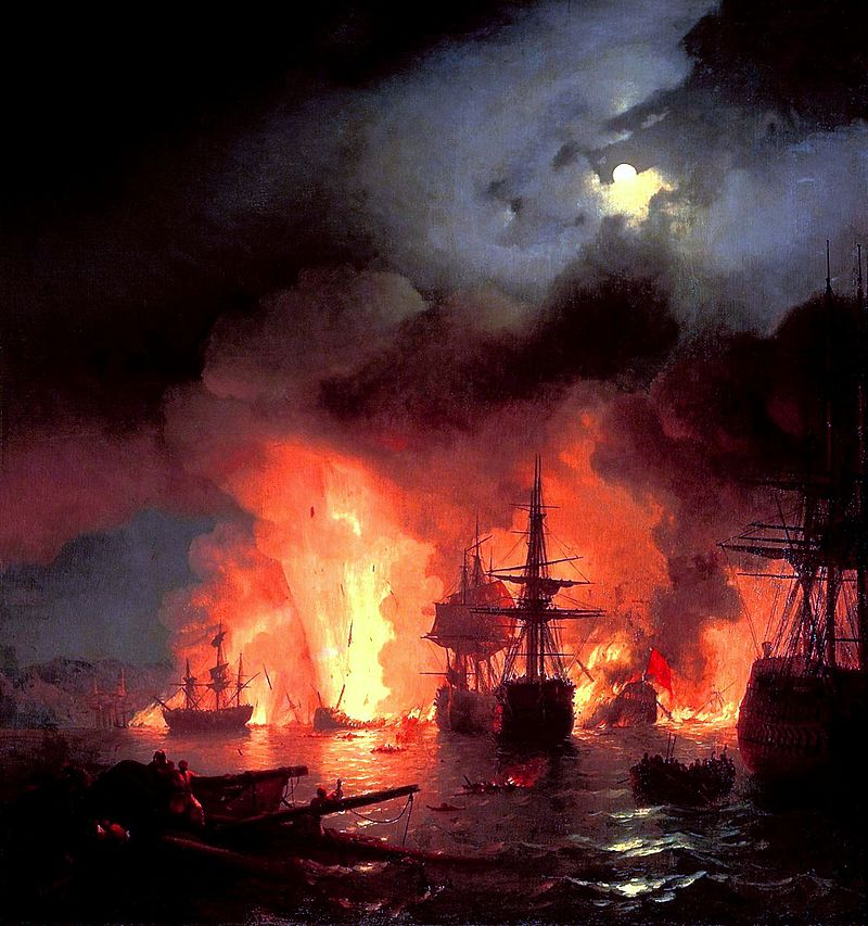 800px-Ivan_Constantinovich_Aivazovsky_-_Battle_of_Çesme_at_Night